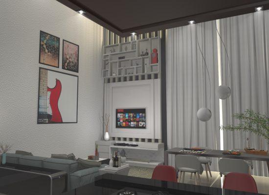 Painel com nichos em 3d